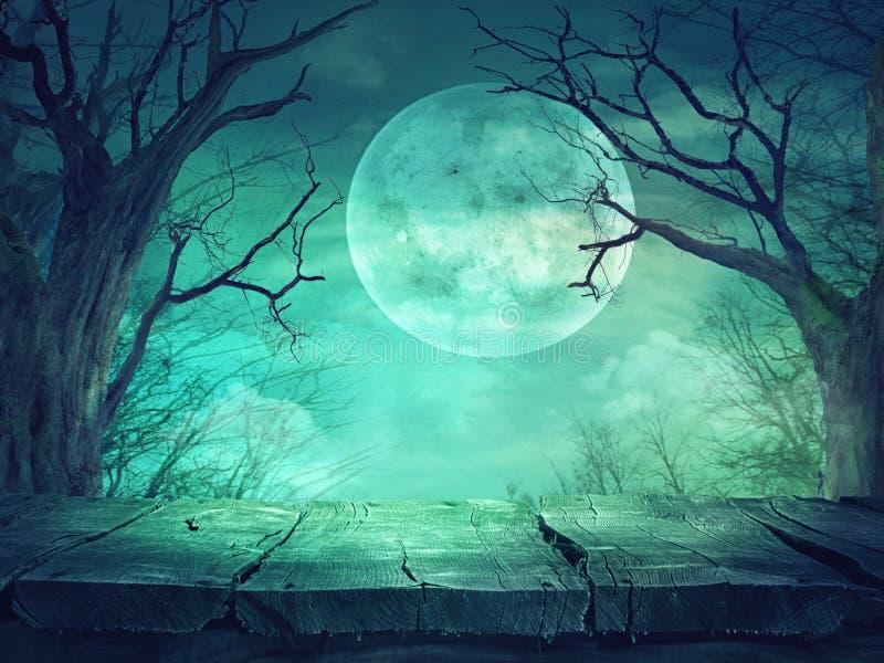 Spöklik skog med fullmånen och trätabellen stock illustrationer