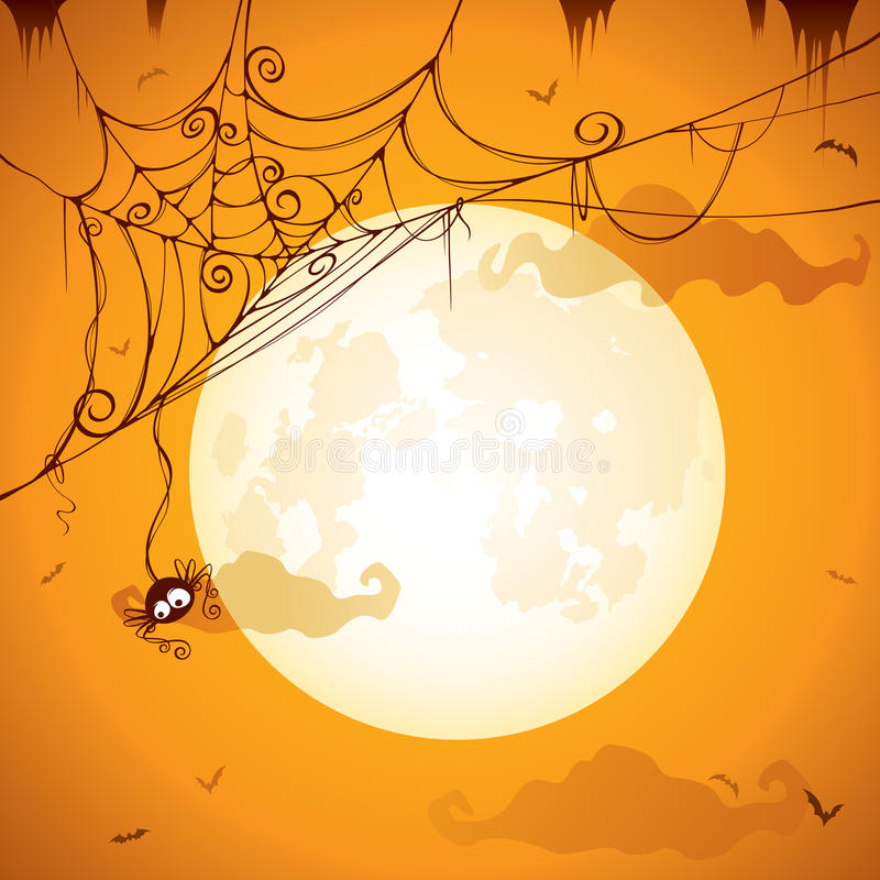 Spöklik spindelrengöringsduk stock illustrationer