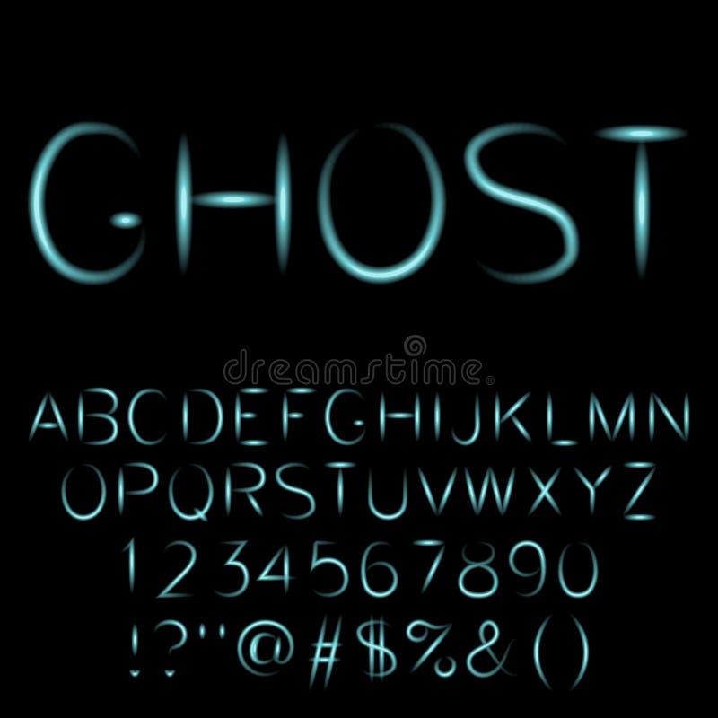 Spöklik stilsort för spökealfabet royaltyfri illustrationer