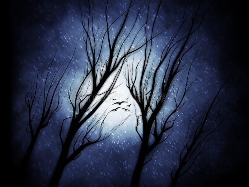 Spöklika träd med fåglar på en snöig natt - Digital illustration royaltyfri fotografi