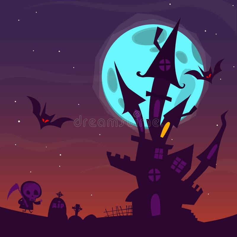 Spöklikt gammalt spökat hus med spökar Allhelgonaaftontecknad filmbakgrund också vektor för coreldrawillustration stock illustrationer