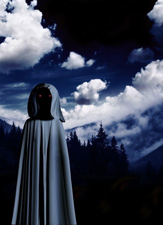 Spöklikt monster i med huva kappa i dimmigt landskap vektor illustrationer