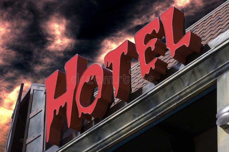 spöklikt rött tecken för hotell fotografering för bildbyråer