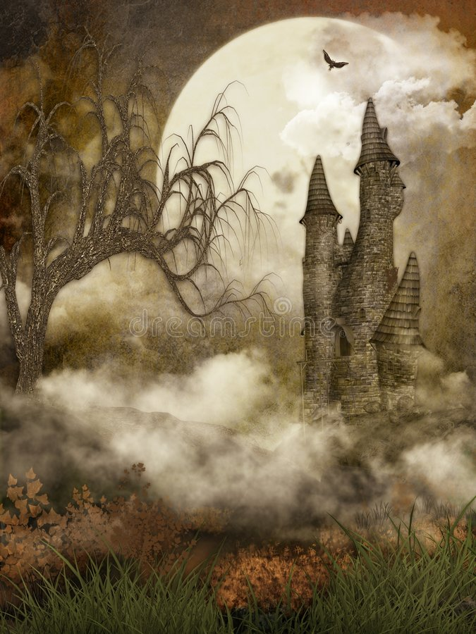 spöklikt slott royaltyfria bilder