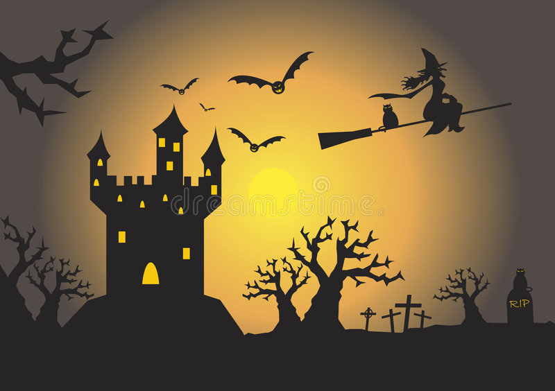 spöklikt spökat hus royaltyfri illustrationer