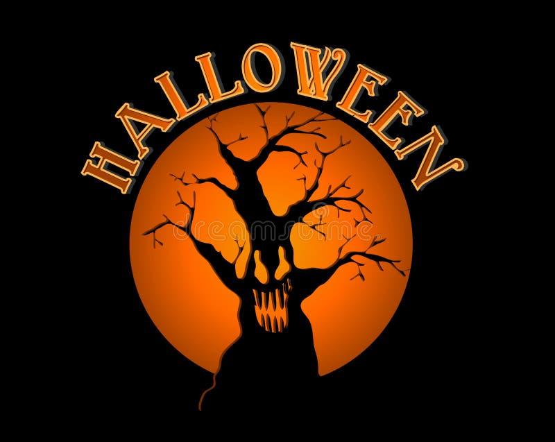 Spöklikt träd för allhelgonaaftontext över orange måneillust vektor illustrationer
