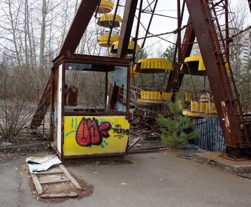 Spökstad Pripyat i Tjernobyl, pariserhjul fotografering för bildbyråer