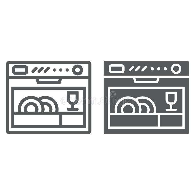 Spülmaschinenlinie und Glyphikone, Gerät und Küche, Haushaltszeichen, Vektorgrafik, ein lineares Muster lizenzfreie abbildung