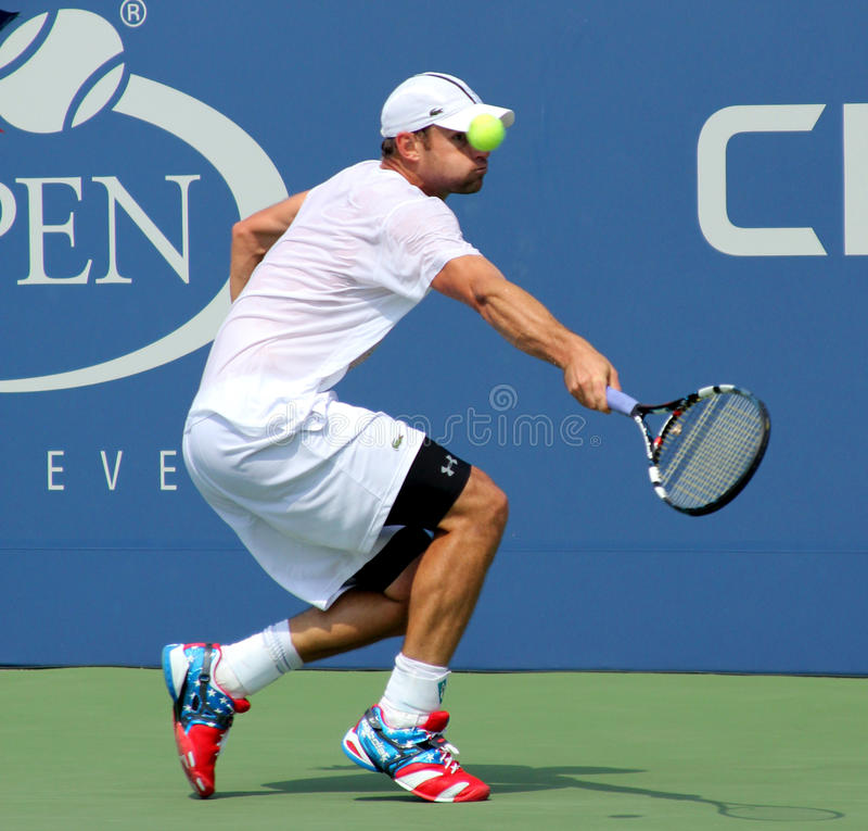 Praxis Grand Slammeister Andy Roddick für US Open an König National Tennis Center Billie-Jean stockbilder