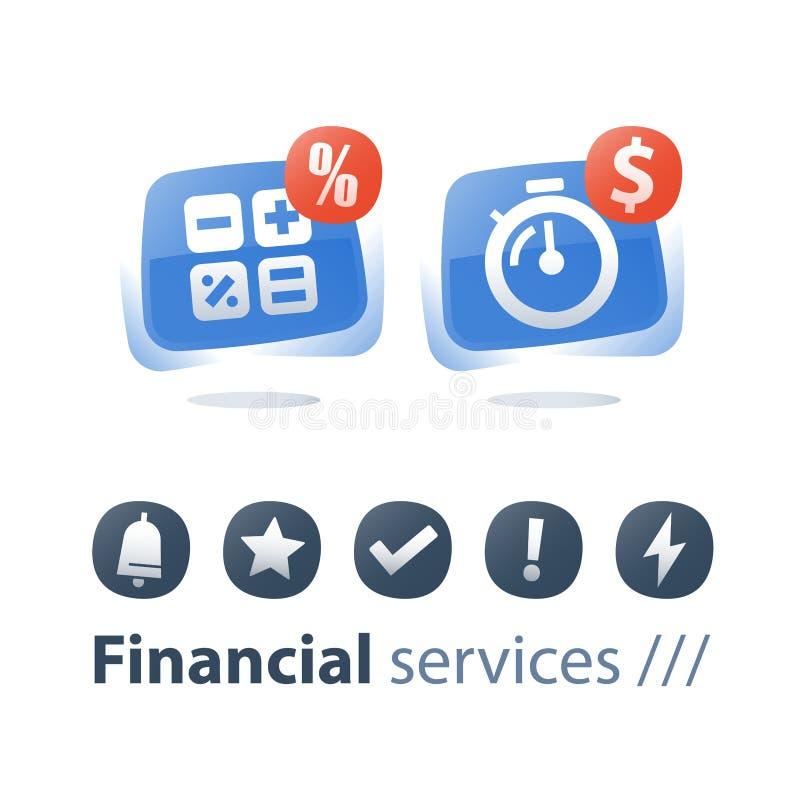 Spłaty hipoteki zaliczka, szybka gotówkowa pożyczka, stopwatch i dolarowy znak, kalkulujemy koszty, stopa procentowa ilustracja wektor