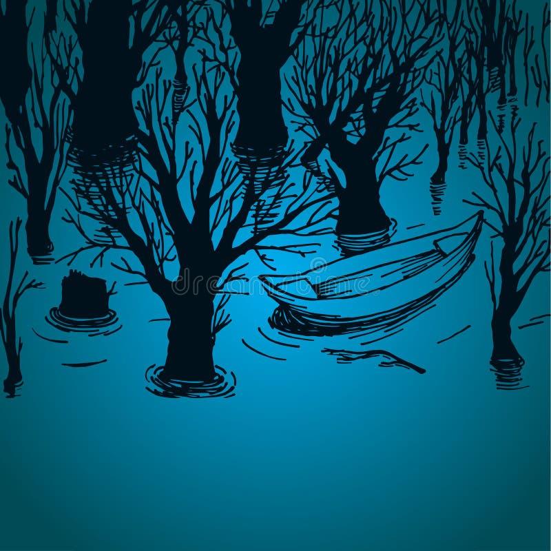 Spławowa łódź w jeziorze ilustracja wektor