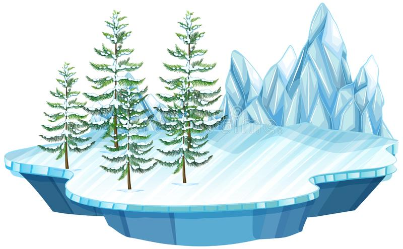 Spławowa lodu i śniegu wyspa ilustracji