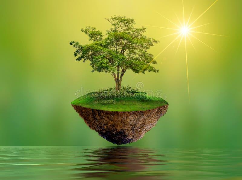 Spławowe wyspy z drzewo Jeziorną rzeką w nieba Światowego środowiska dnia konserwaci dnia Światowym środowisku zdjęcie royalty free