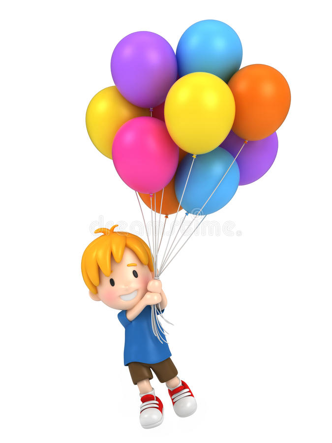 Spławowy dzieciak z balonami royalty ilustracja