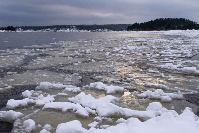 Spławowy lód na jeziorze blisko brzeg zdjęcia royalty free