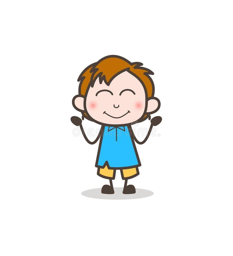 Spłoniona Uśmiechnięta twarz - Śliczny kreskówka dzieciaka wektor royalty ilustracja