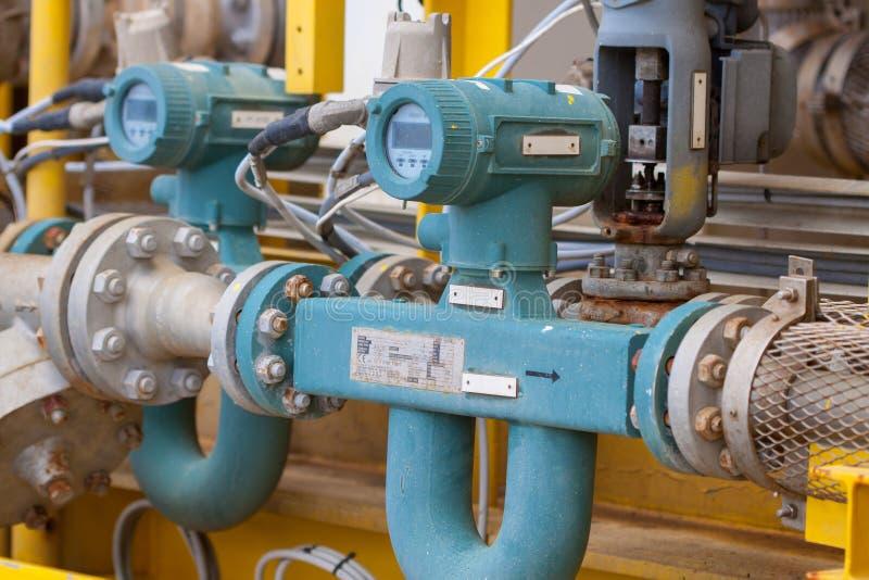 Spływowy metr dla miary oleju, ciecz i gaz w systemu, fotografia royalty free