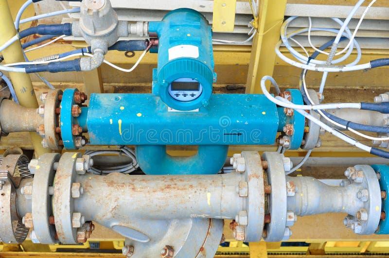 Spływowy metr dla miary oleju, ciecz i gaz w systemu, obrazy royalty free