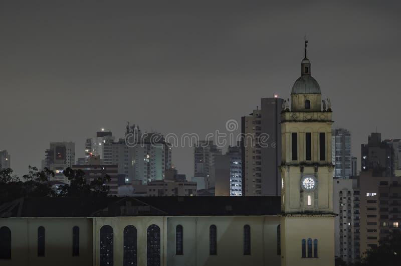 SP Brasil de Sao Paulo na noite fotografia de stock royalty free