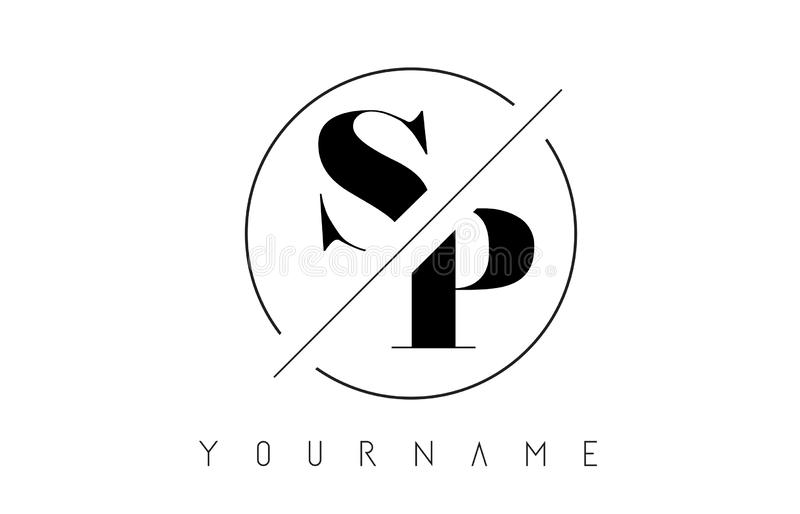 SP Letter Logo with Cutted and Intersected Design. And Round Frame Vector Illustration royalty free illustration