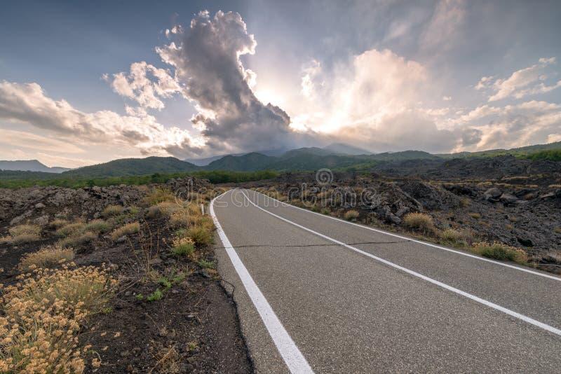 SP Mareneve Milo, CT - Volcano Etna, Sicily royalty free stock photo