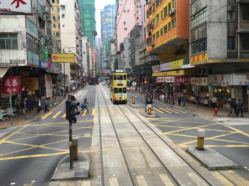 Sp?rvagn f?r dubbel d?ckare i Hong Kong royaltyfria bilder