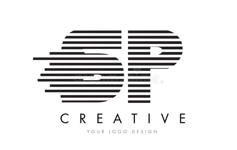 SP S P Zebra Letter Logo Design with Black and White Stripes vector illustration