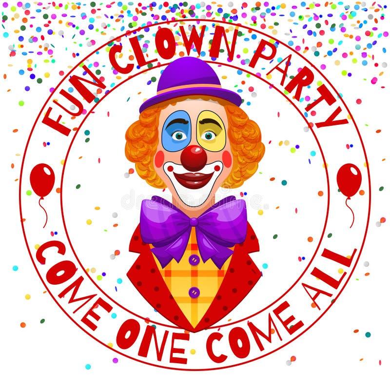 Spaß blödelt Parteieinladung herum Lustiger glücklicher lachender Clown mit Hut- und Nasenillustration stock abbildung