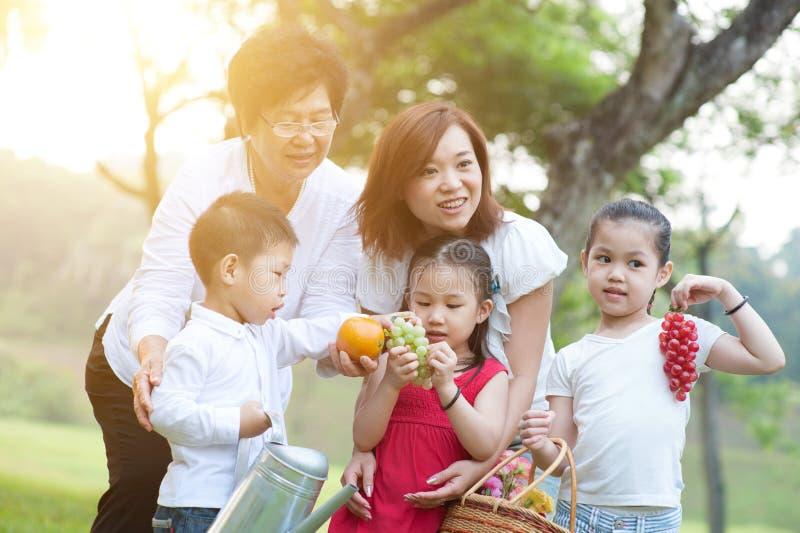 Spaß der Großmutter, der Mutter und der Kinder im Freien lizenzfreies stockbild