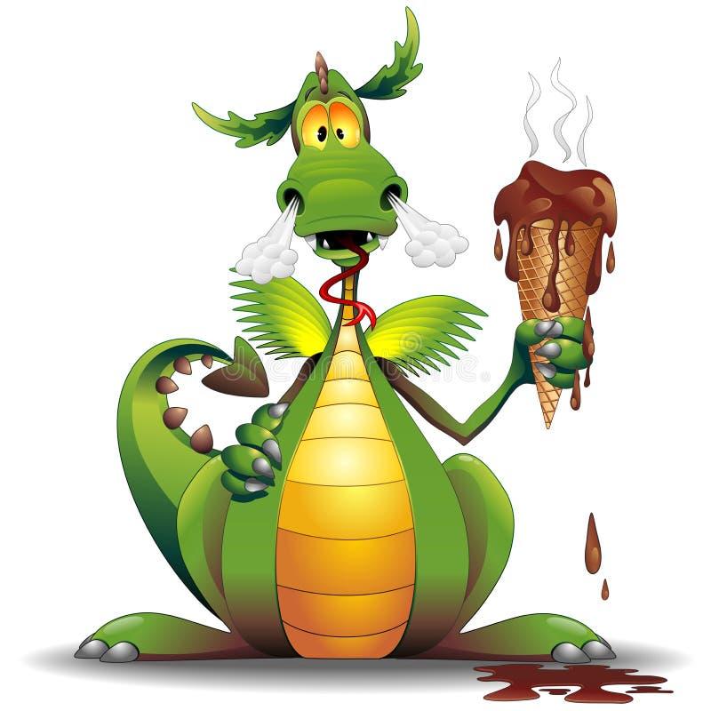 Spaß Dragon Cartoon mit geschmolzener Eiscreme vektor abbildung