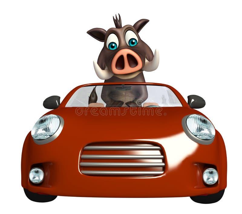Spaß-Eberzeichentrickfilm-figur mit Auto lizenzfreie abbildung