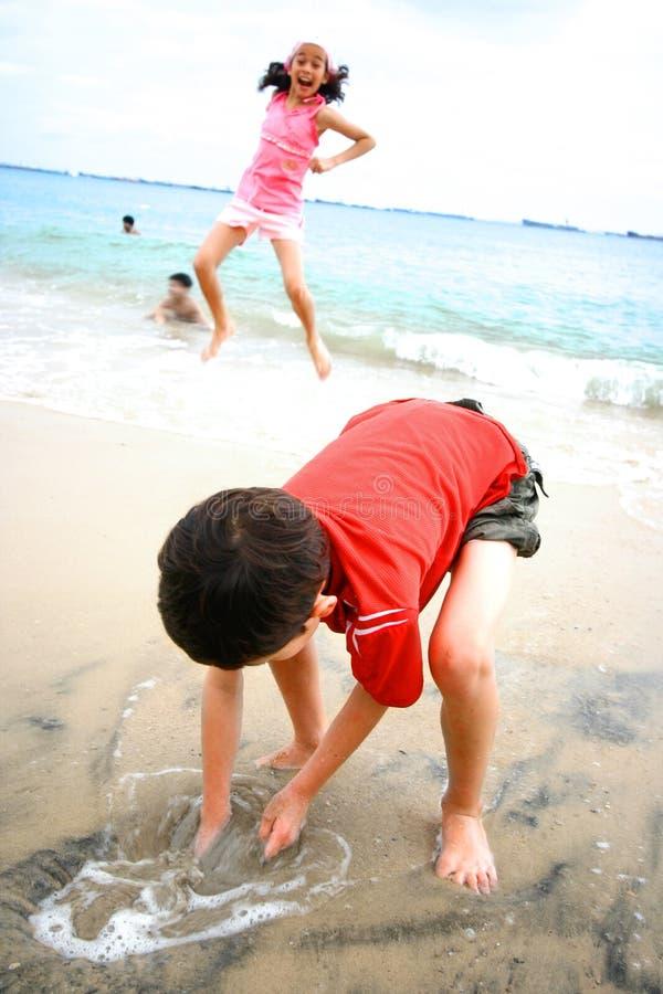 Spaß an einem tropischen Strand lizenzfreies stockfoto