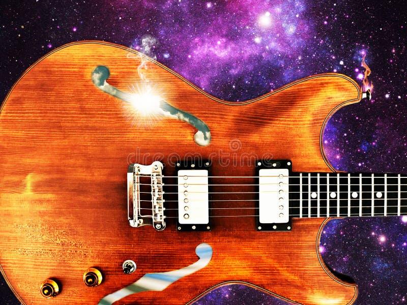 Spaß-Fantasie-Hohlkörper-E-Gitarre im Raum - Rollenjazz des Rock-N stockfotografie