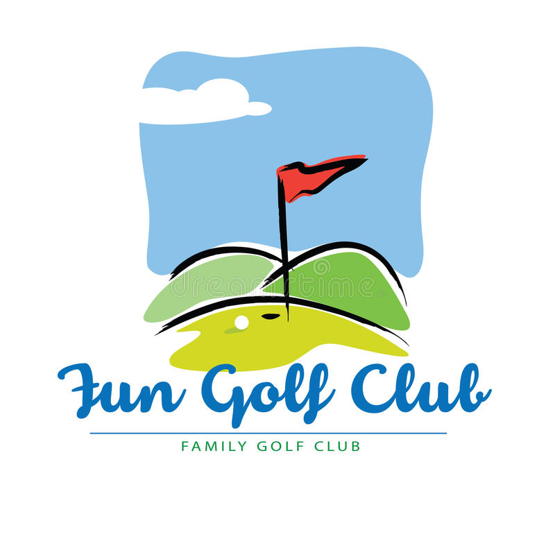Spaß-Golfplatzlandschaftikone vektor abbildung