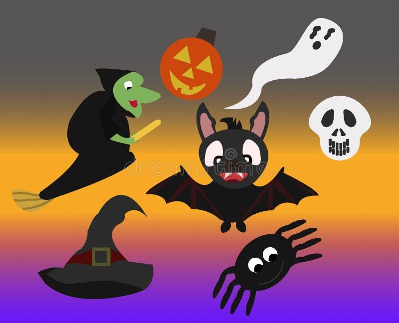 Spaß-Halloween-Charakterikone/Symbolsatz stockbild