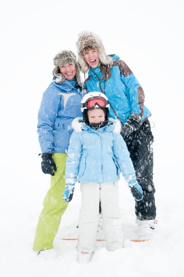 Spaß im Schneesturm stockfotos