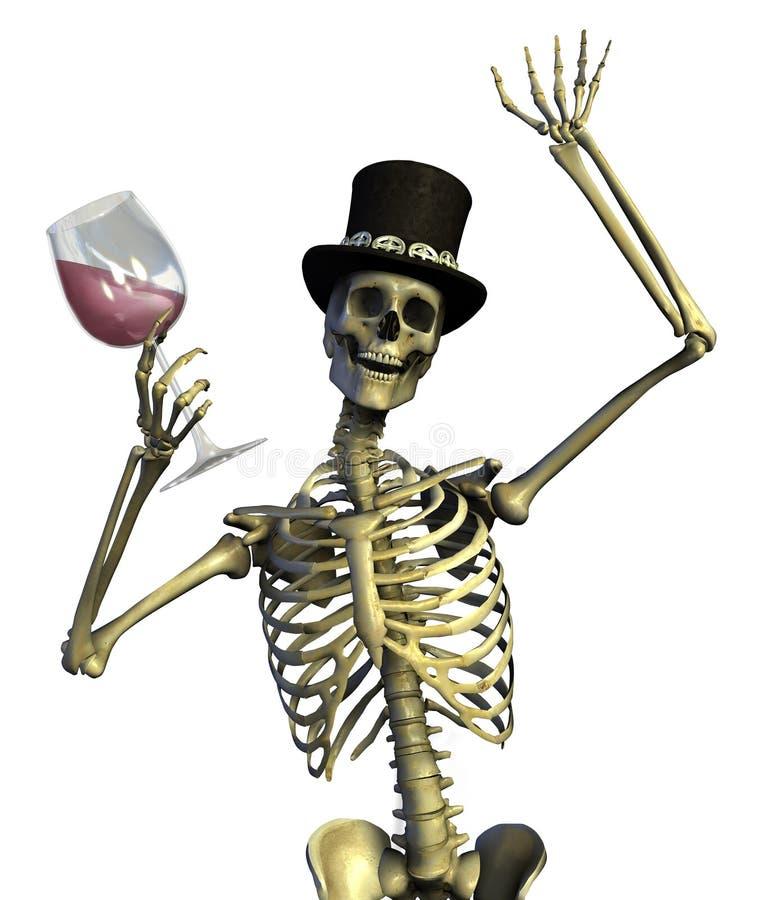 Spaß-liebevolles Party-Skelett stock abbildung