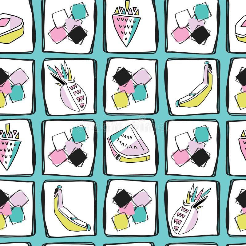 Spaß Memphis Fruit Pattern, nahtloser Vektor-Hintergrund mit Erdbeeren lizenzfreie abbildung