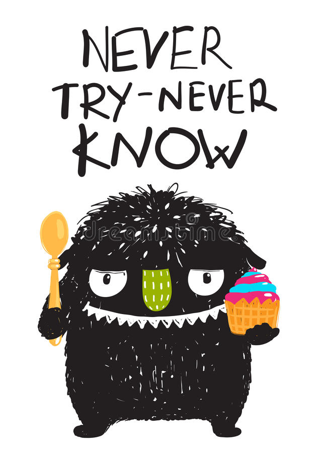 Spaß-Monster, das Nachtisch-Karikatur-Karte isst stock abbildung