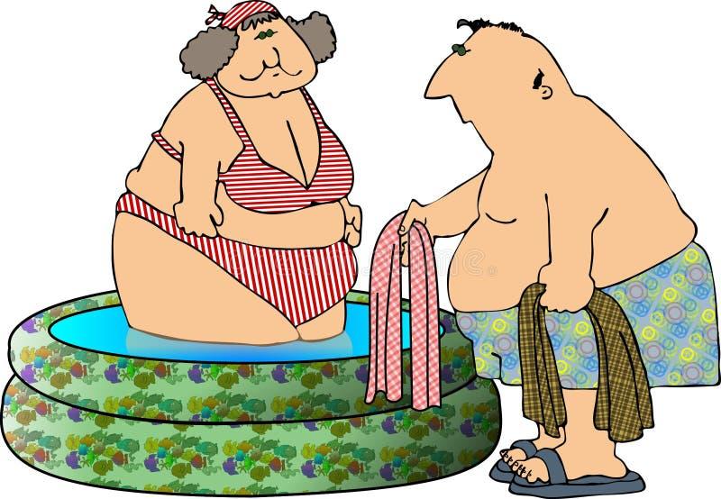 Spaß am Pool stock abbildung