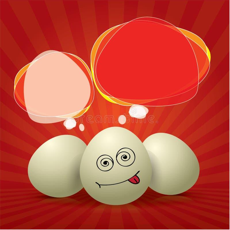 Spaß-roter Ostern-Aufbau mit Eiern stock abbildung