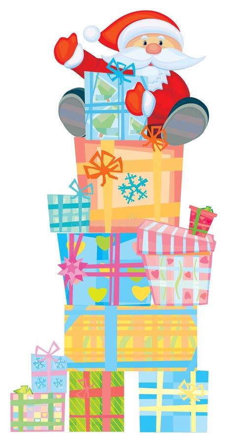 Spaß Sankt auf Geschenken. stock abbildung