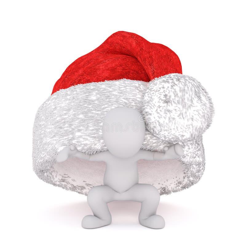 Spaß wenig Mann 3d, der unter einem Weihnachtshut sich versteckt stock abbildung