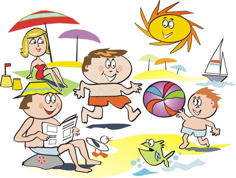 Spaßfamilien-Strandkarikatur lizenzfreie abbildung