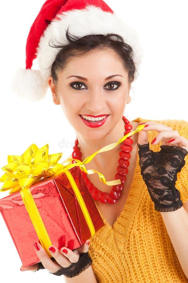 Download Spaßfrau Mit Weihnachtsgeschenk Stockbild - Bild von portrait, paket: 12203005