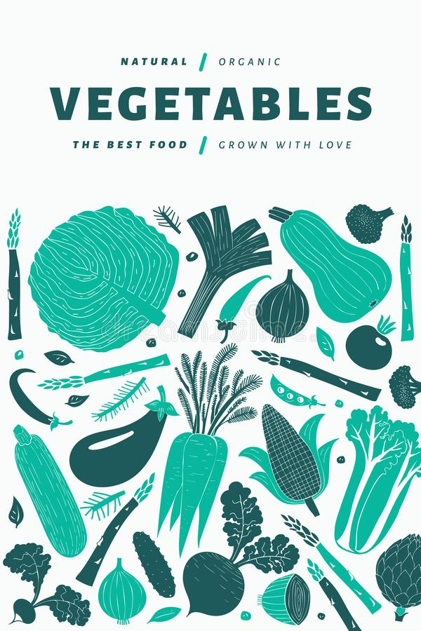 Spaßhandgezogenes Gemüse entwirft Schablone sehr viele Fleischmehlklöße Linocut-Art Gesunde Nahrung Auch im corel abgehobenen Bet stockbild