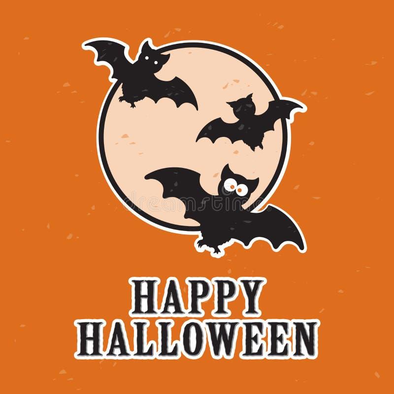 Spaßkarikaturschläger und Vollmond, glückliche Halloween-Karte, Illustration der Farbe zwei lizenzfreie abbildung