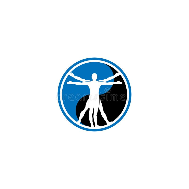 Spaßleute gesunde Leben-Logoschablonen-Vektorikone Vektorzeichen Leonardo da Vinci Vektorillustrator Nutzen der Meditation Healt stock abbildung