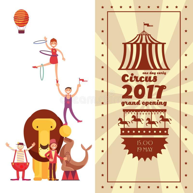 Spaßmessekarneval und Zirkusweinlese vector Plakat stock abbildung