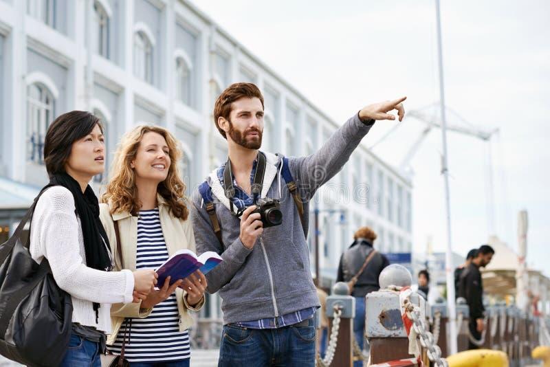 Spaßreisefreunde lizenzfreie stockfotografie